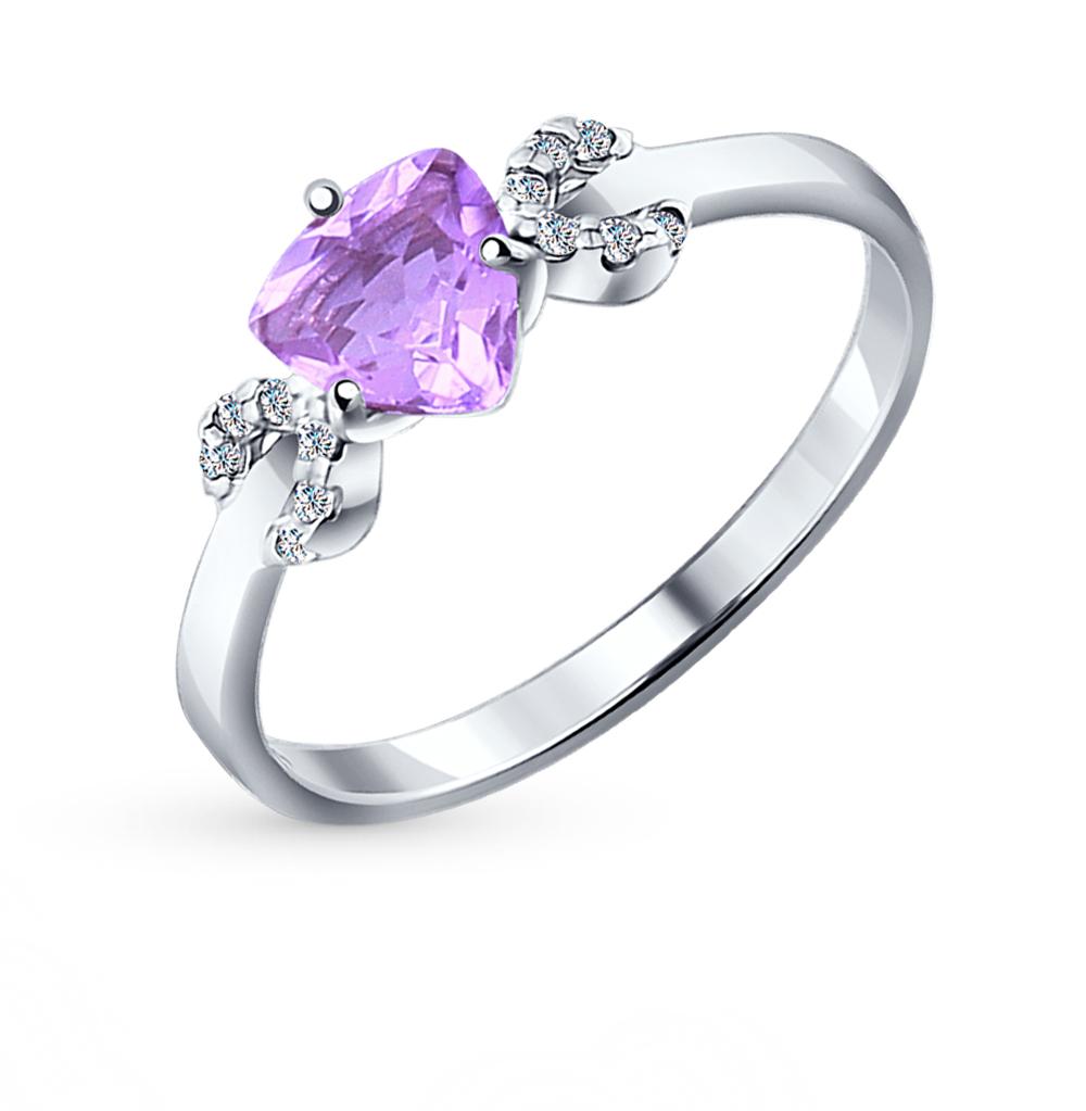 серебряное кольцо с аметистом и фианитами SOKOLOV 92011042
