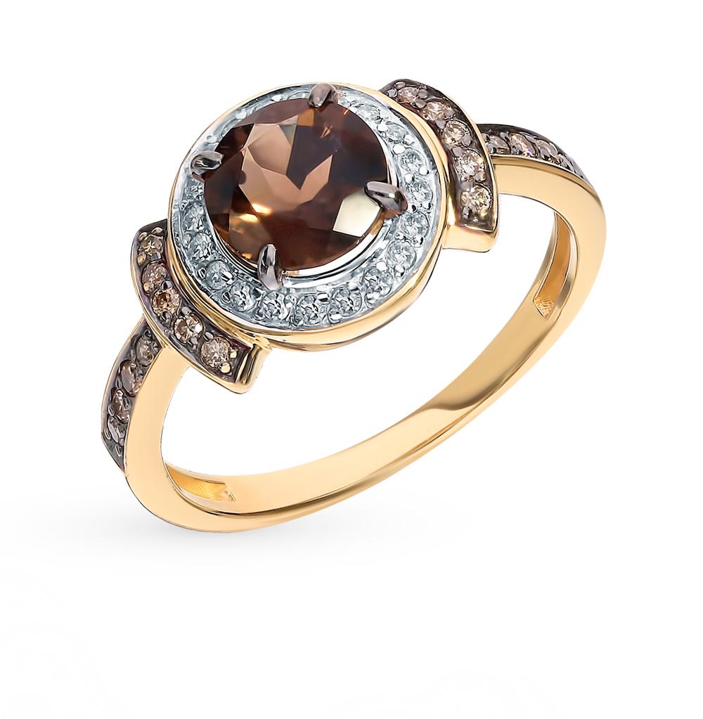 Золотое кольцо с коньячными бриллиантами и раухтопазом