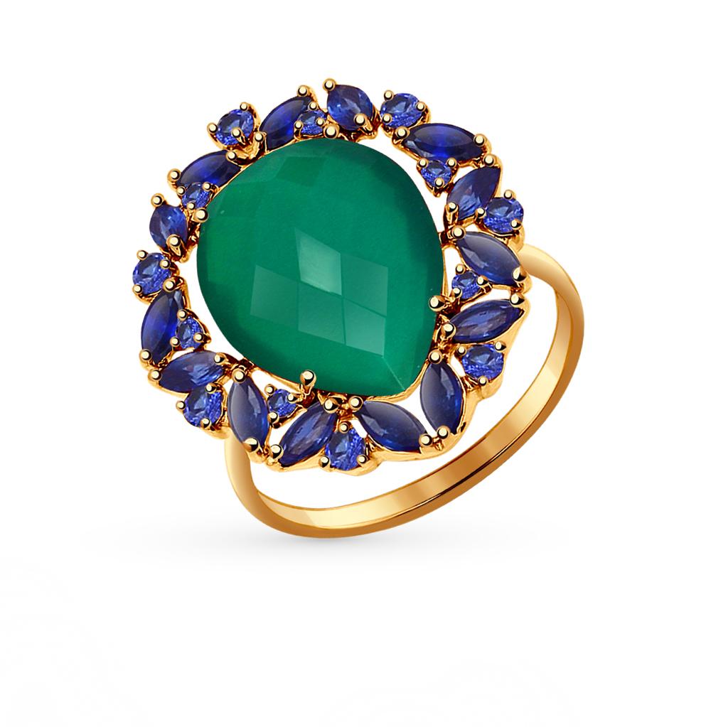 Фото «золотое кольцо с корундом и агатом»