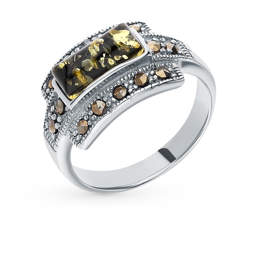 Серебряное кольцо с марказитами и янтарем в Санкт-Петербурге