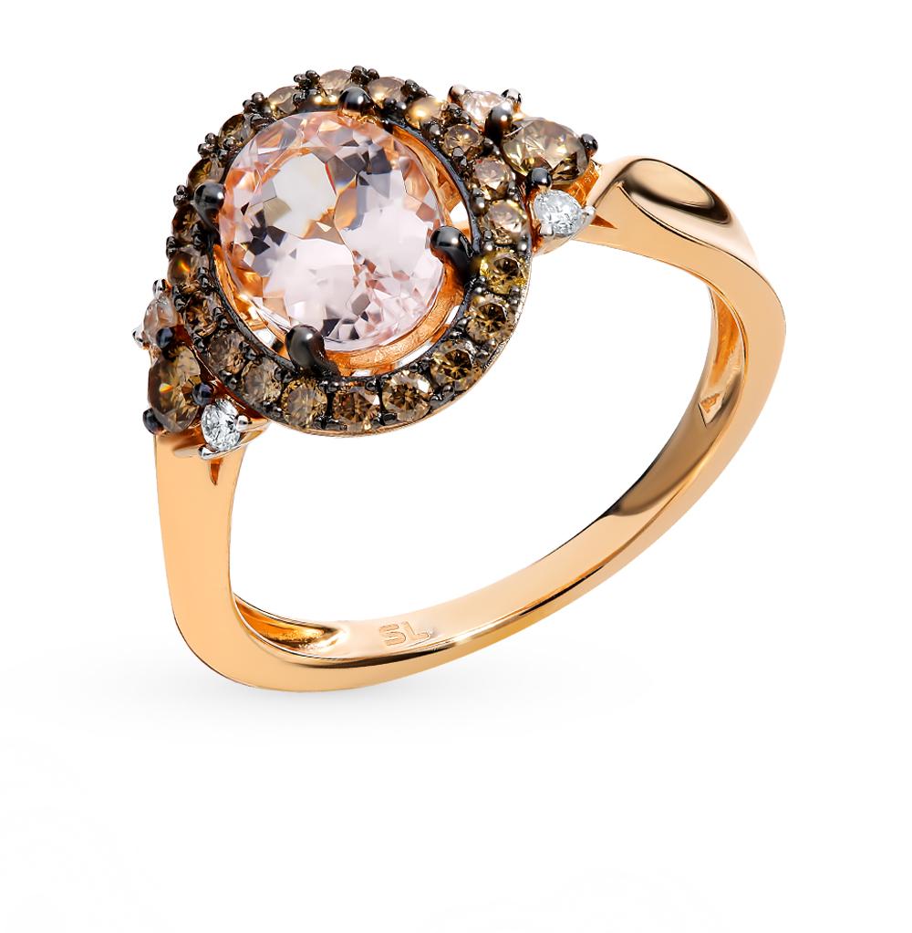Золотое кольцо с коньячными бриллиантами, морганитами