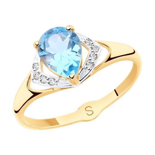 Фото «Золотое кольцо с топазами и фианитами SOKOLOV 715478*»