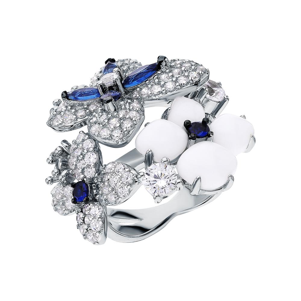 Серебряное кольцо с фианитами, шпинелями синтетическими и опалами синтетическими в Екатеринбурге