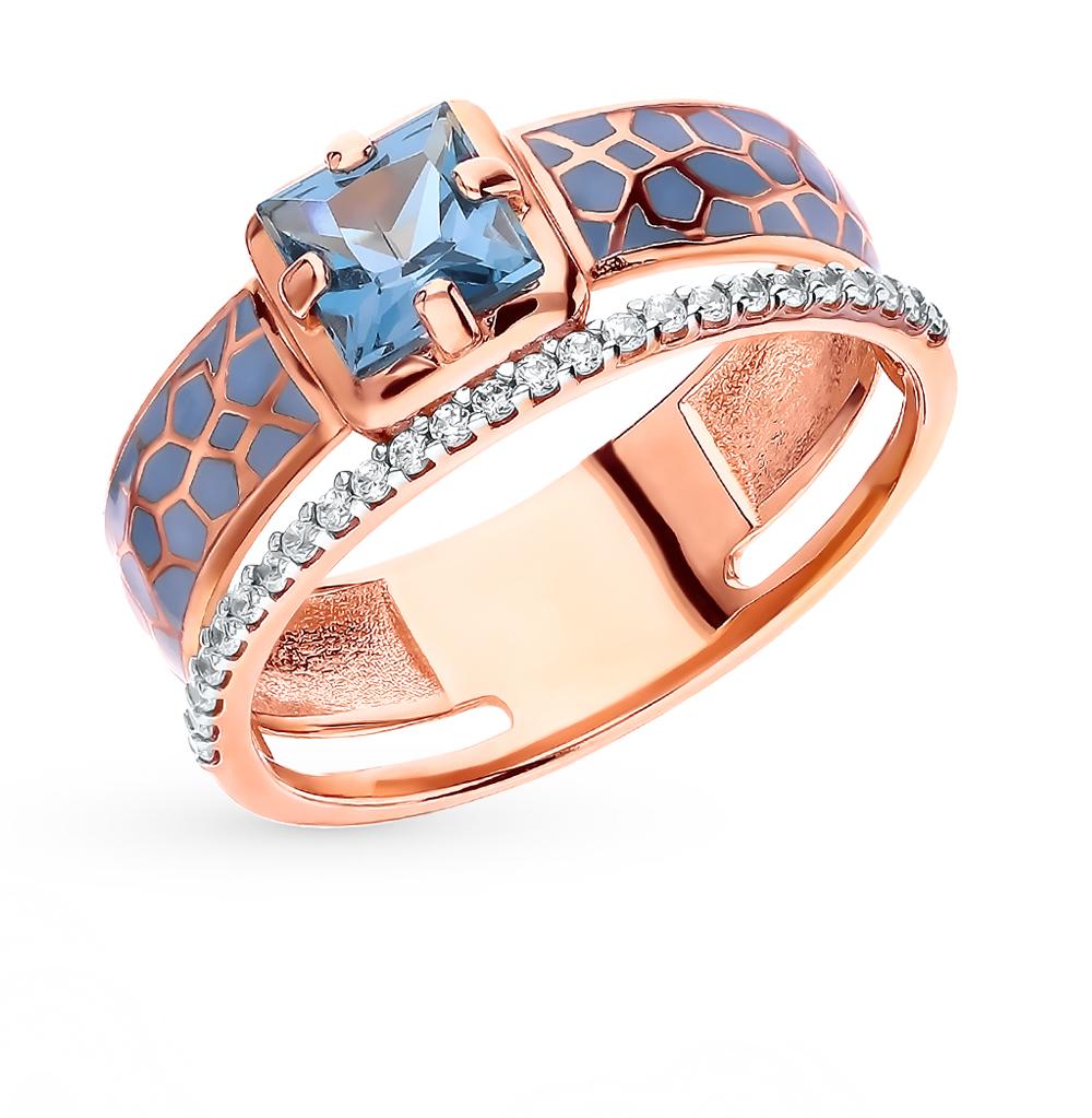 Золотое кольцо с топазами, фианитами и эмалью в Екатеринбурге