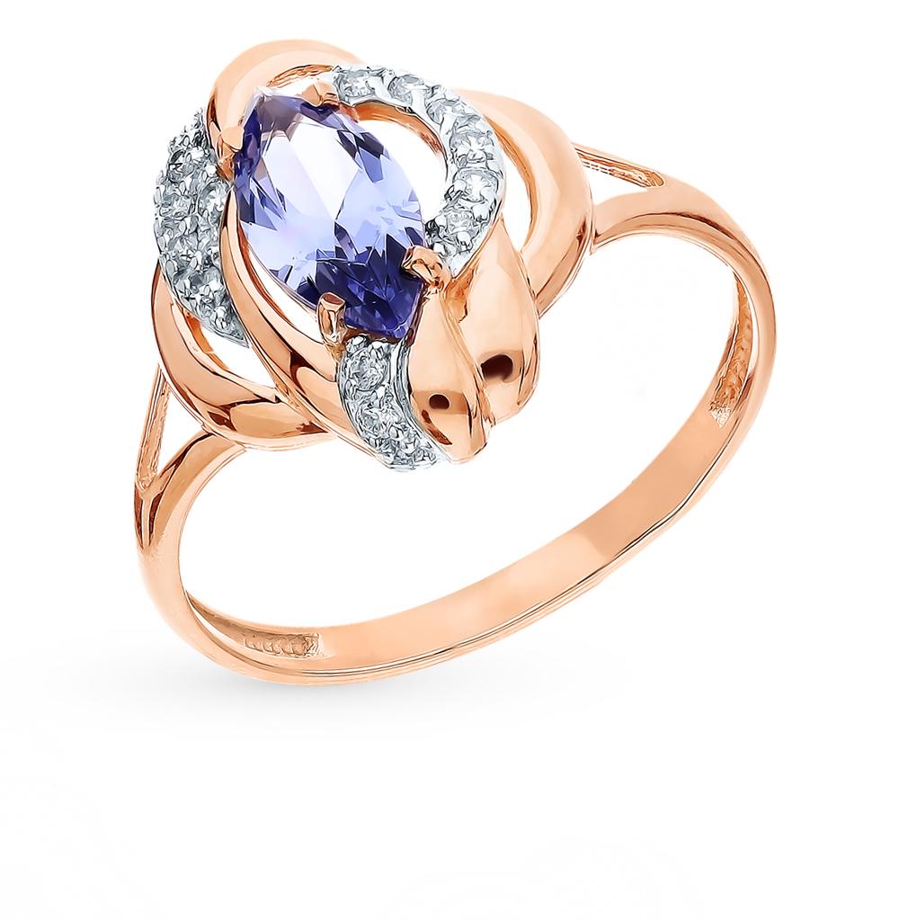 Фото «Золотое кольцо с танзанитом и фианитами»