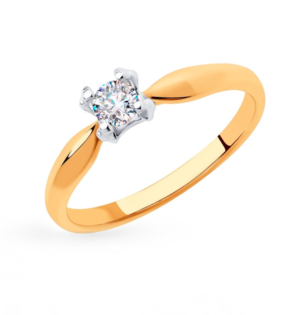 золотое кольцо с фианитами SOKOLOV 018310