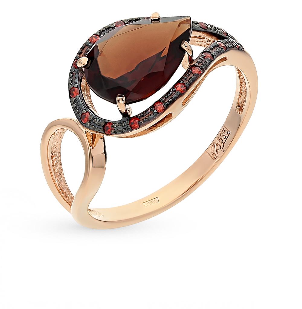 золотое кольцо с гранатом и ситаллами
