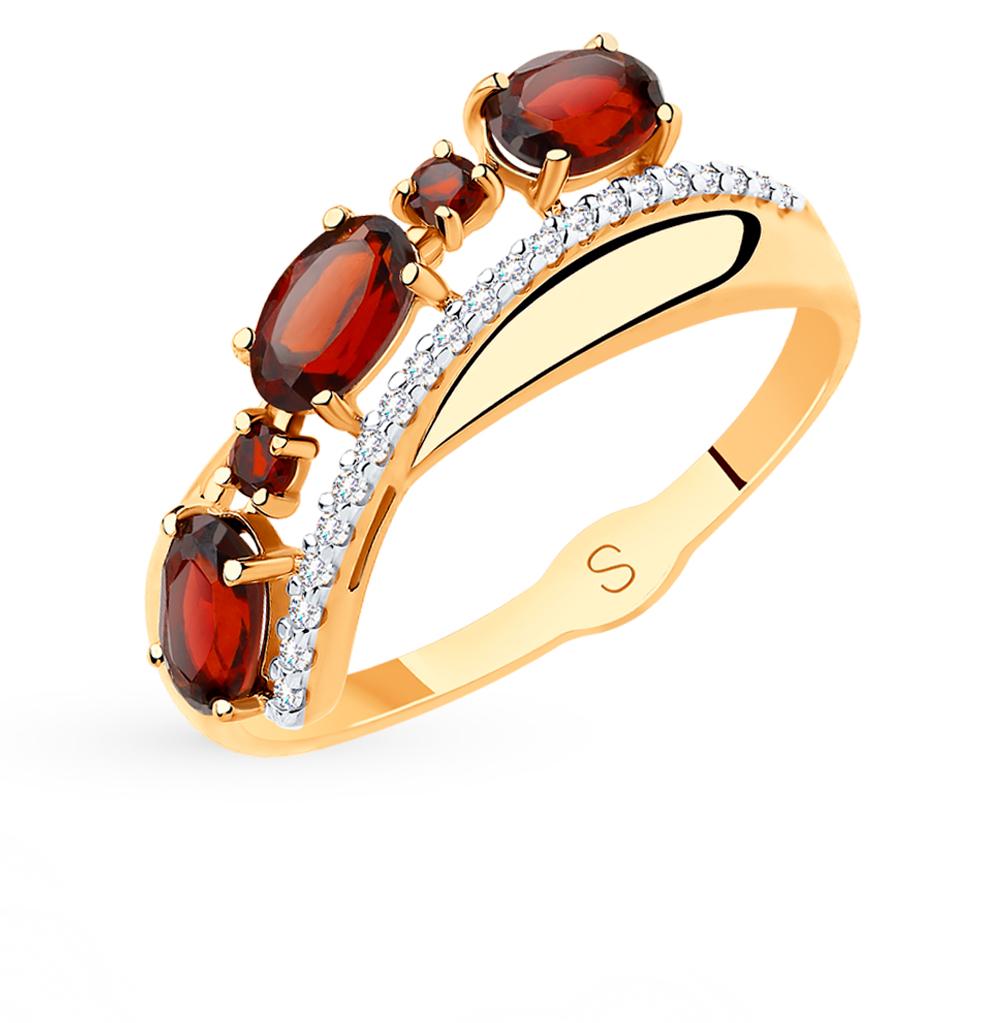золотое кольцо с фианитами и гранатом SOKOLOV 715482*