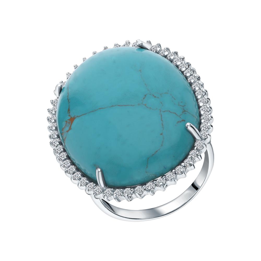 Фото «Серебряное кольцо с малахитом и фианитами»
