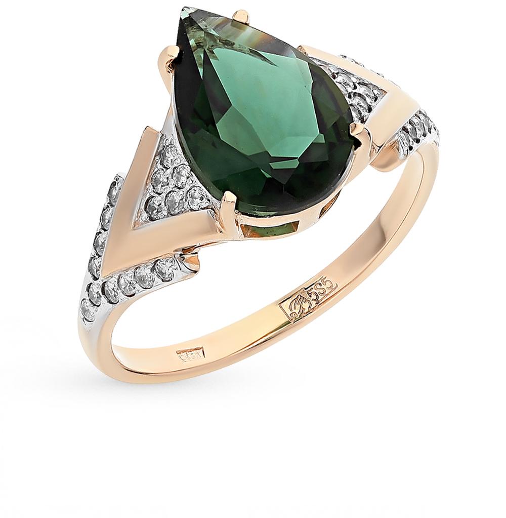 Фото «золото кольцо с турмалинами и фианитами»