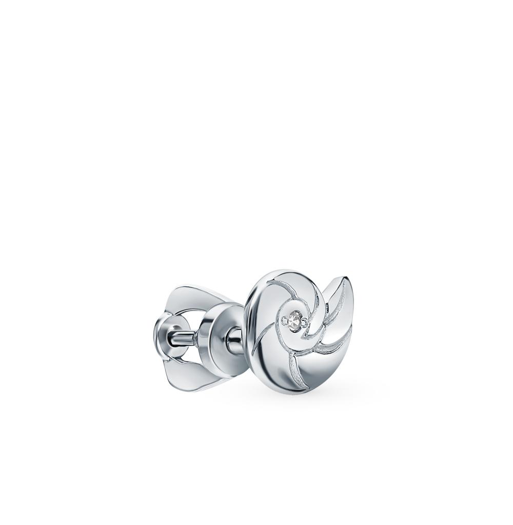 Серебряная серьга с бриллиантами в Санкт-Петербурге