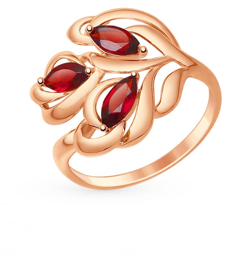 Золотое кольцо с гранатом SOKOLOV 714775* в Санкт-Петербурге