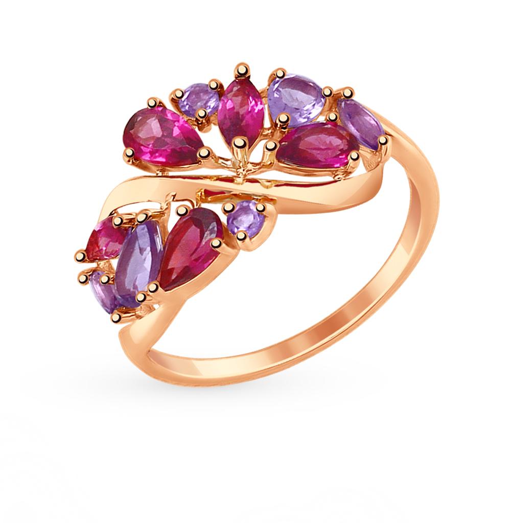 золотое кольцо с родолитами и аметистом SOKOLOV 714845*