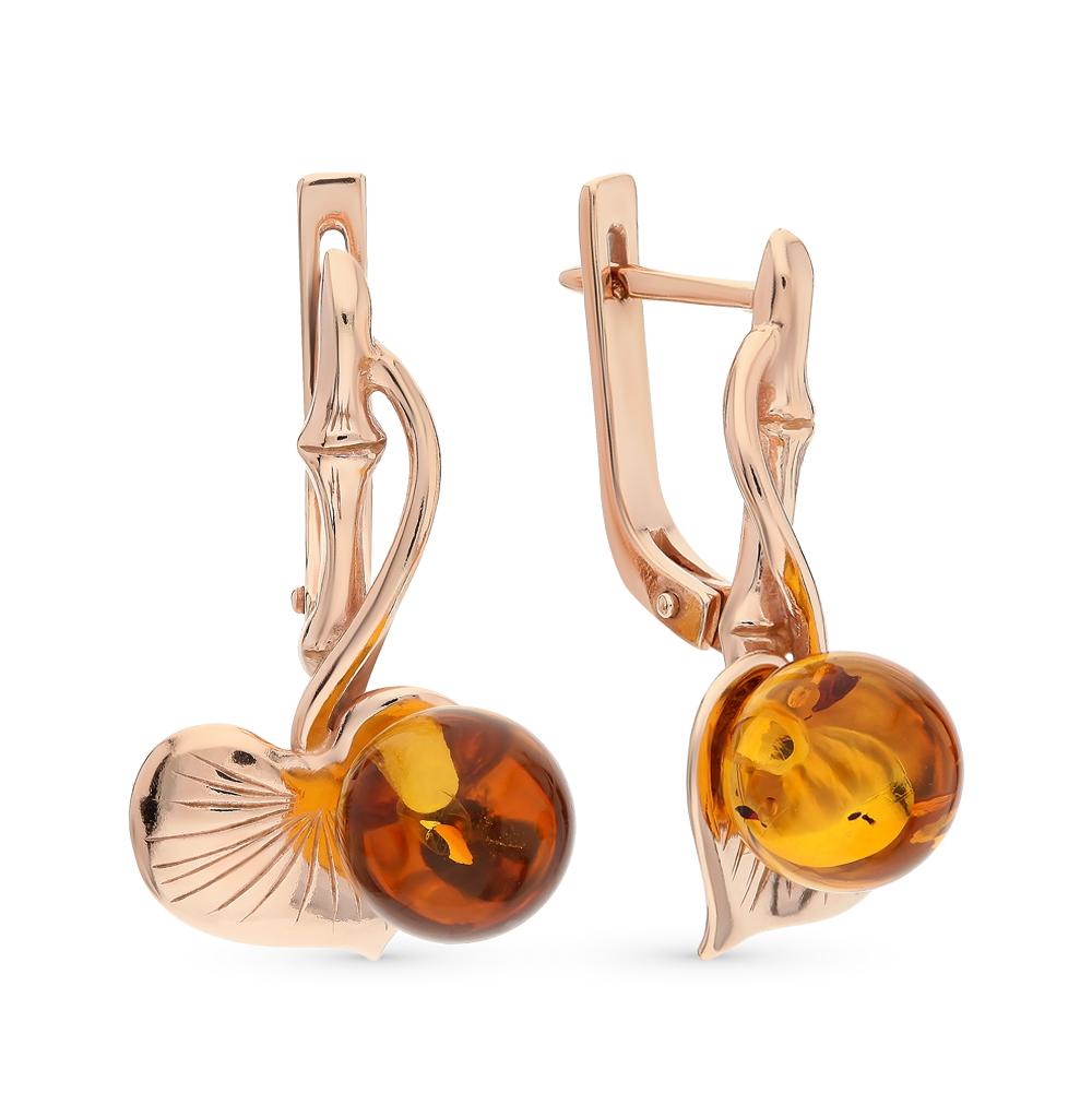 серебряные серьги с янтарем