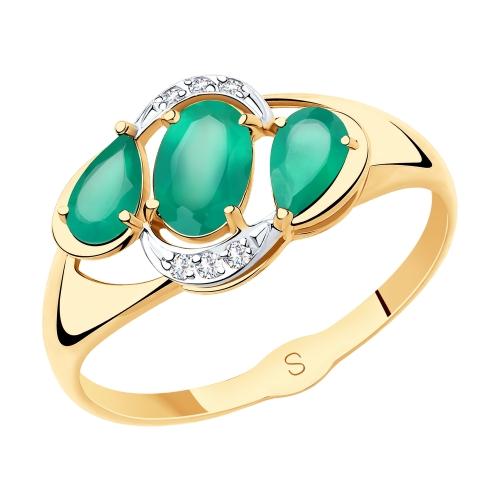 Фото «Золотое кольцо с агатом SOKOLOV 715514*»