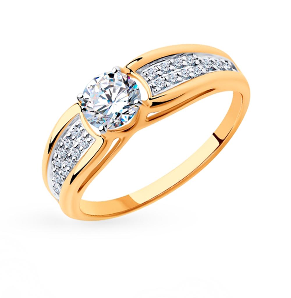 золотое кольцо с фианитами SOKOLOV 018337