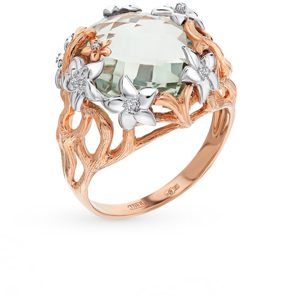 Золотое кольцо с аметистом, аметистами зелёными и бриллиантами в Екатеринбурге
