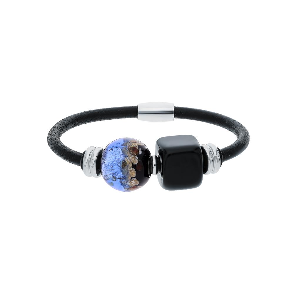 Фото «Стальной браслет с муранскими стёклами»