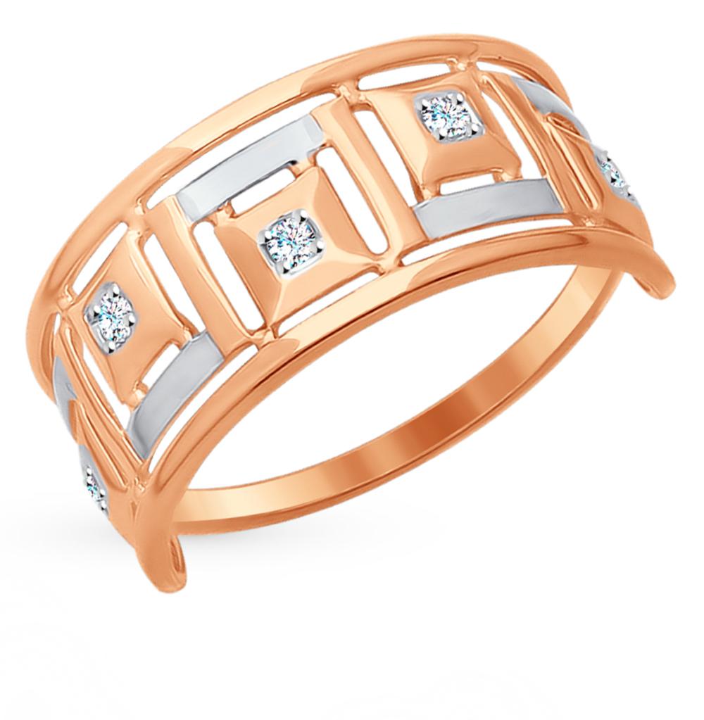 золотое кольцо с фианитами SOKOLOV 017634*