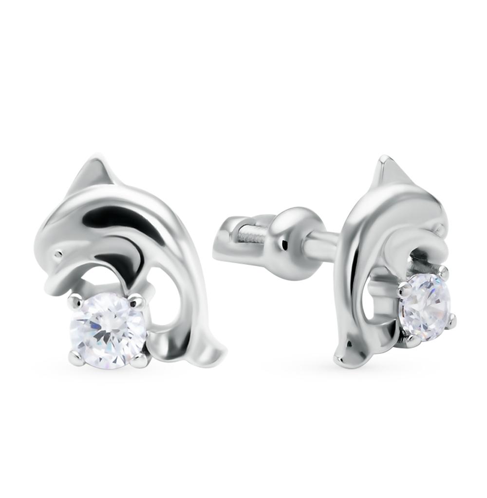 серебряные серьги с фианитами SOKOLOV 94020107