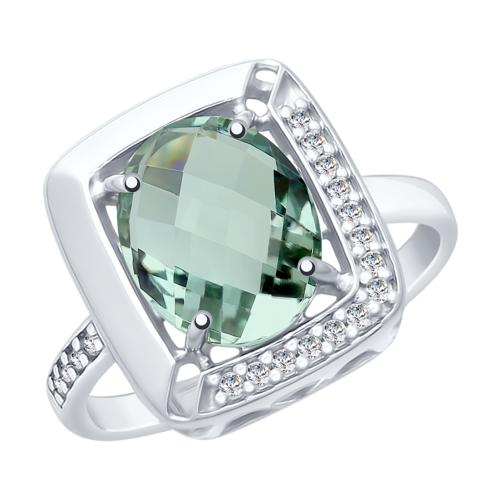 Серебряное кольцо с кварцем и фианитами SOKOLOV 92011773 в Екатеринбурге