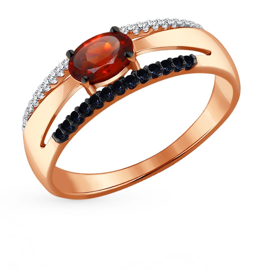 золотое кольцо с фианитами и гранатом SOKOLOV 714050*