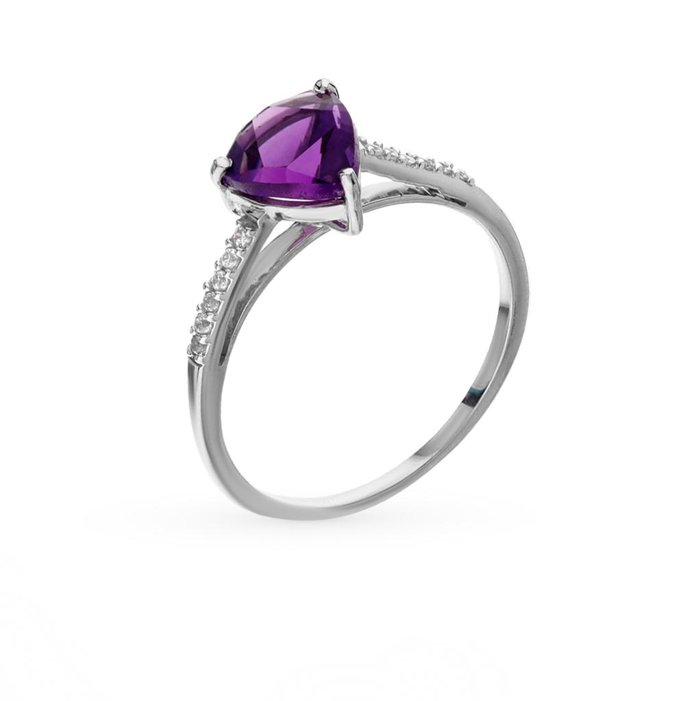 Фото «серебряное кольцо с фианитами и аметистами синтетическими»