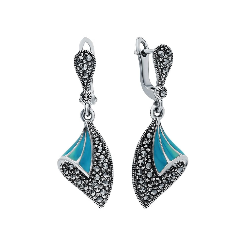 Фото «Серебряные серьги с эмалью и марказитами swarovski»