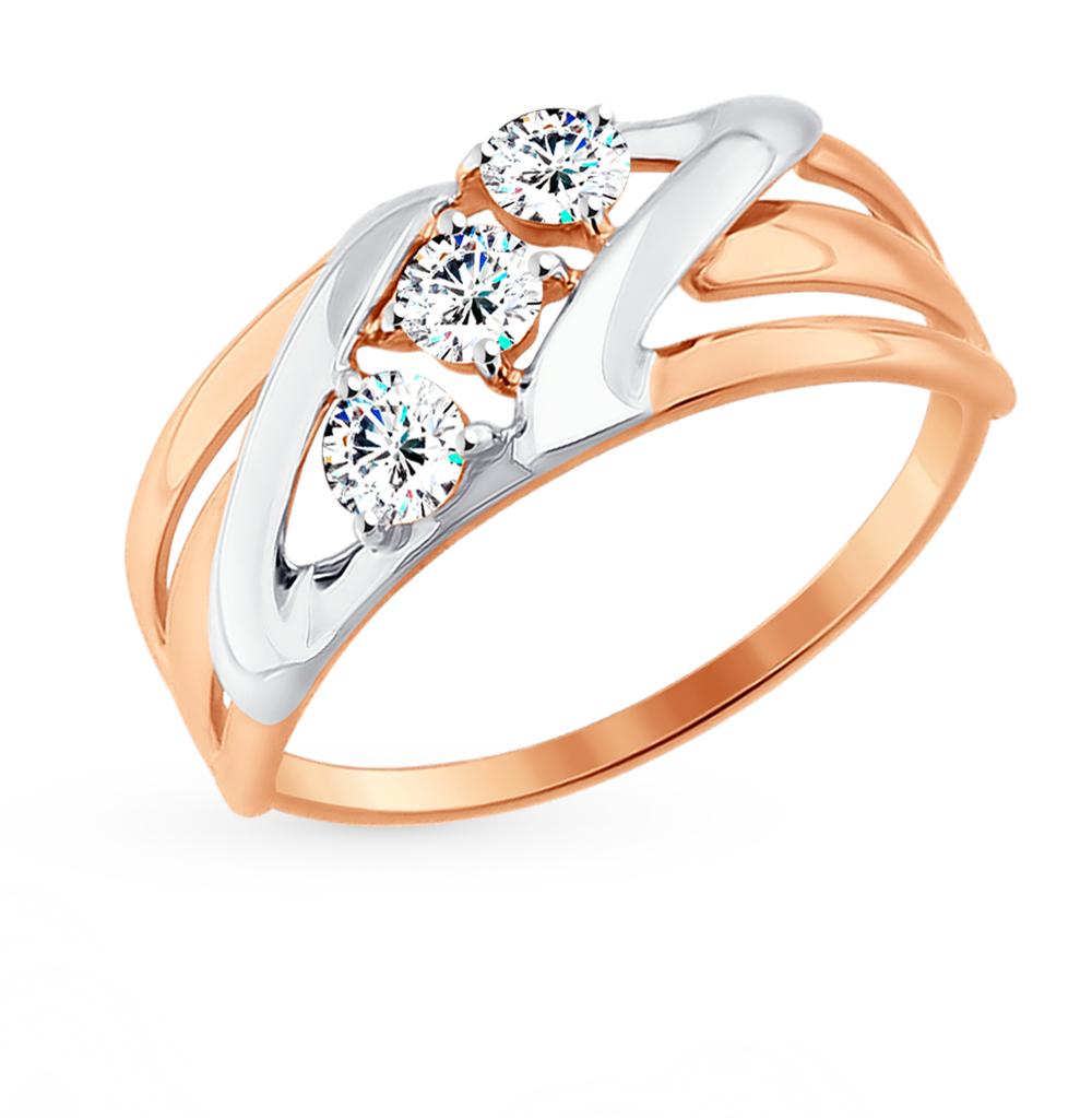 золотое кольцо с фианитами SOKOLOV 017640*