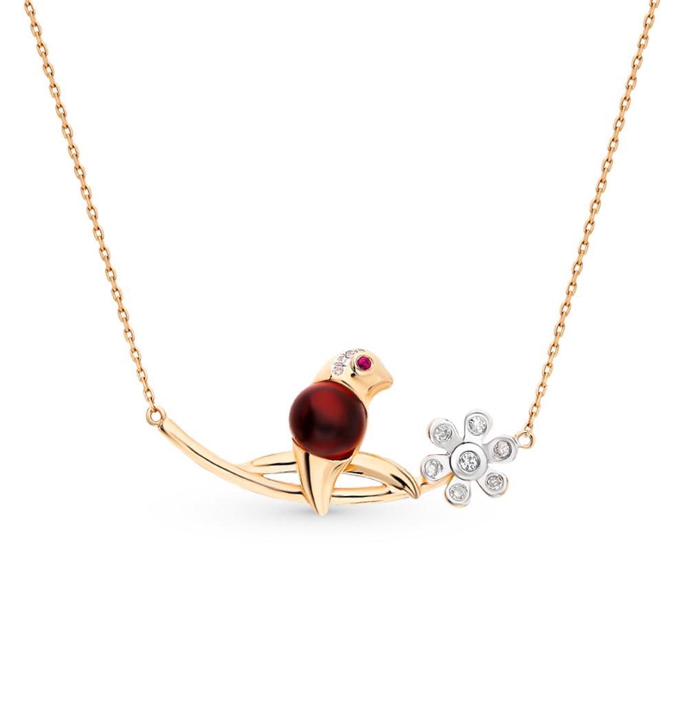 золотое шейное украшение с рубеллитами и бриллиантами
