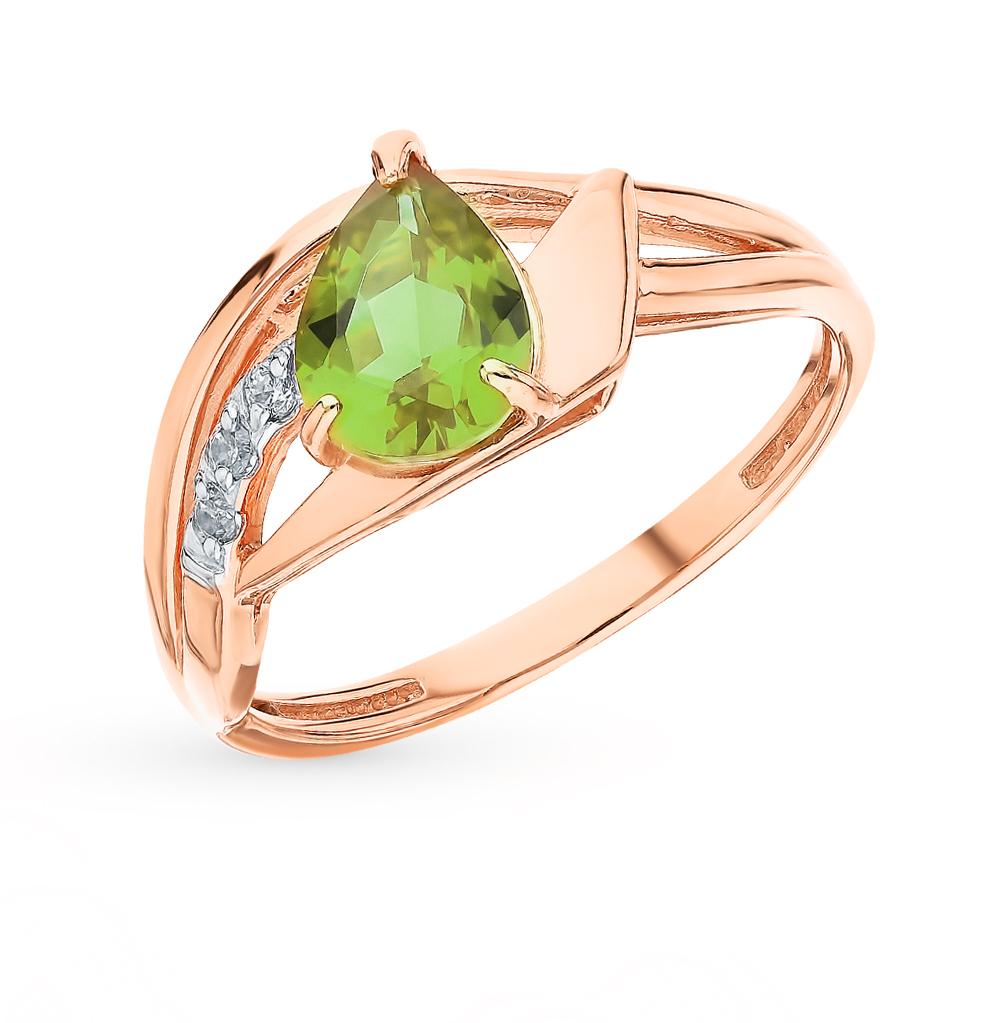Фото «Золотое кольцо с фианитами и султанитами синтетическими»