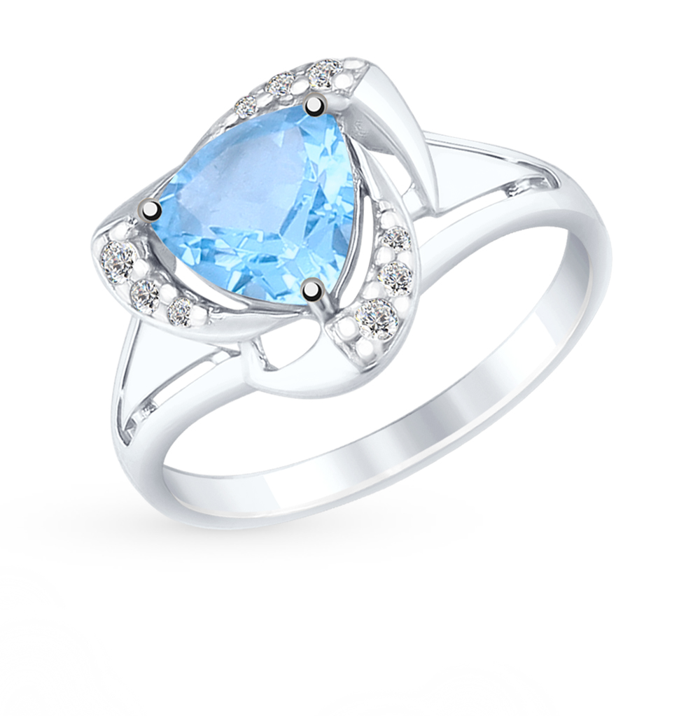 Фото «Серебряное кольцо с топазом и фианитами SOKOLOV 92011490»