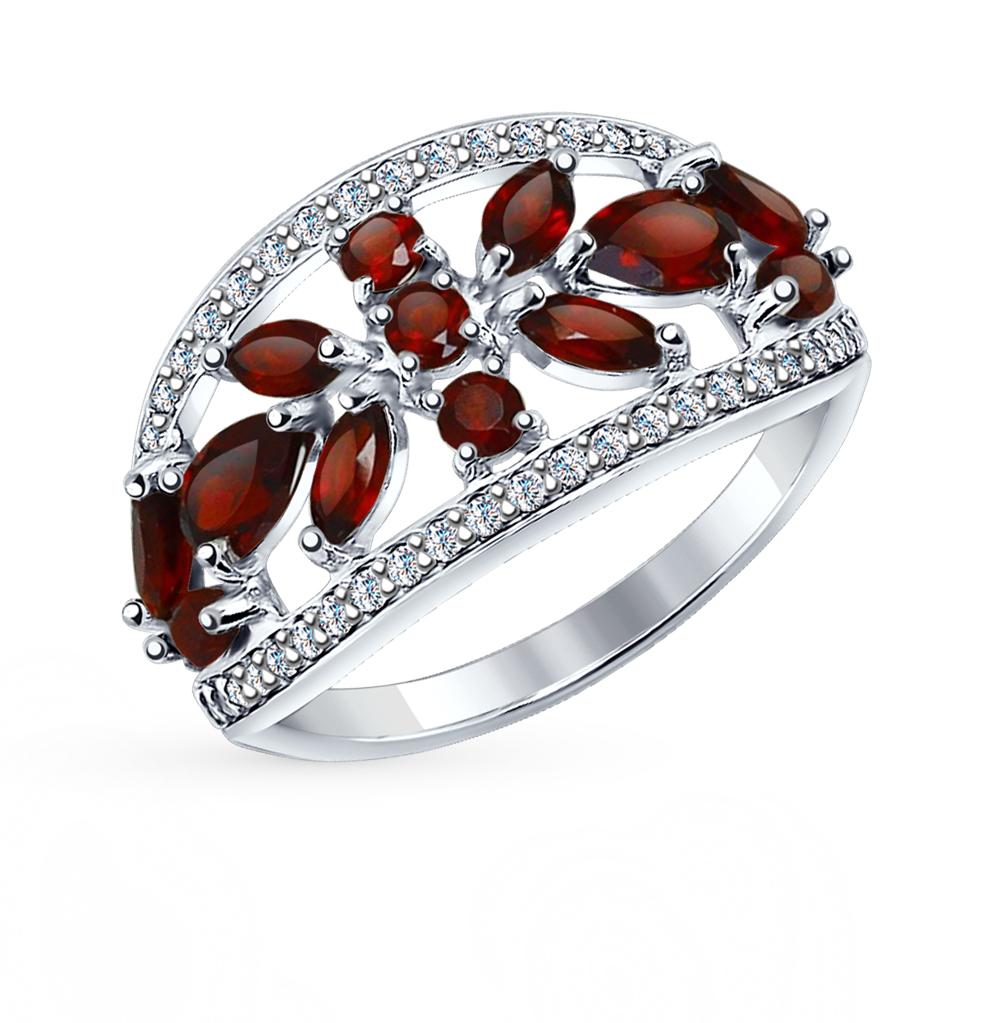 серебряное кольцо с фианитами и гранатом SOKOLOV 92011272
