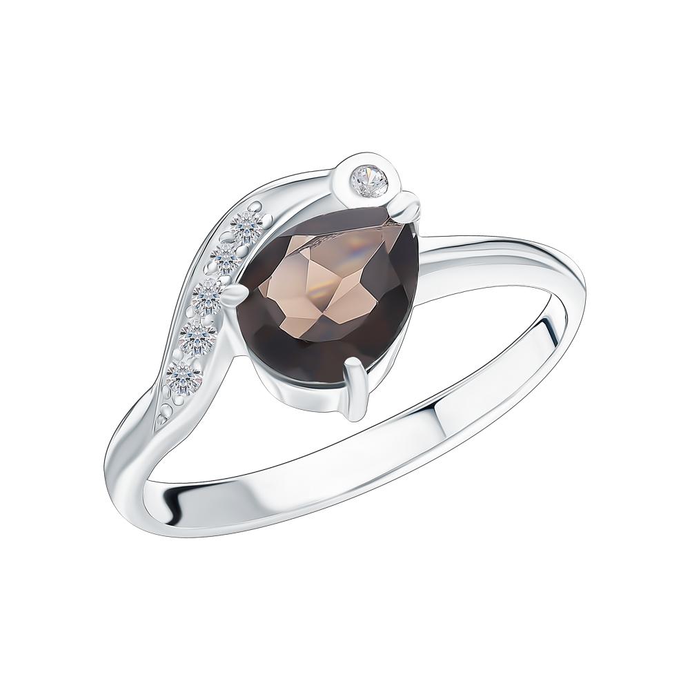 Серебряное кольцо с кварцем и фианитами в Екатеринбурге