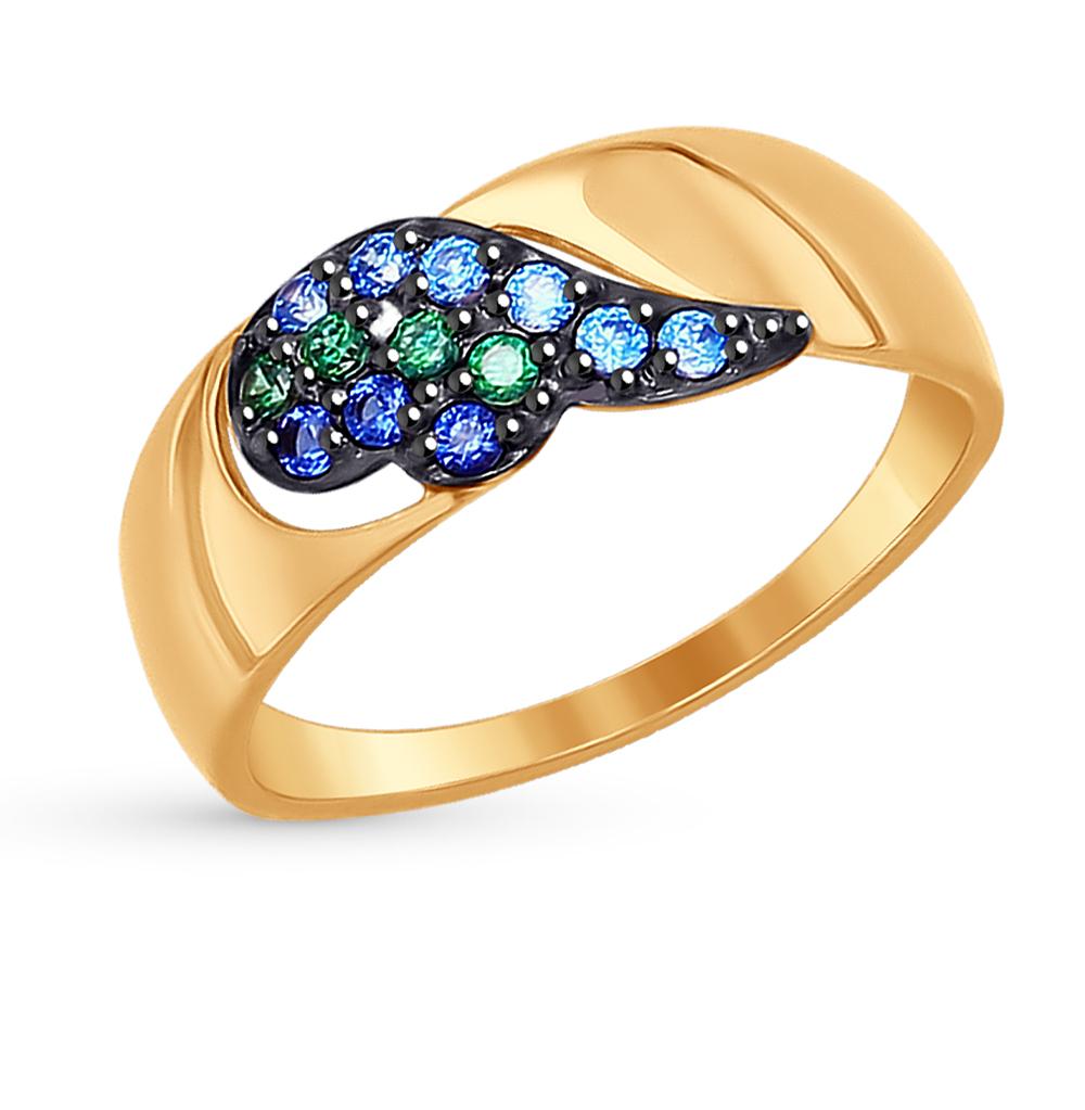 золотое кольцо с фианитами SOKOLOV 017271*