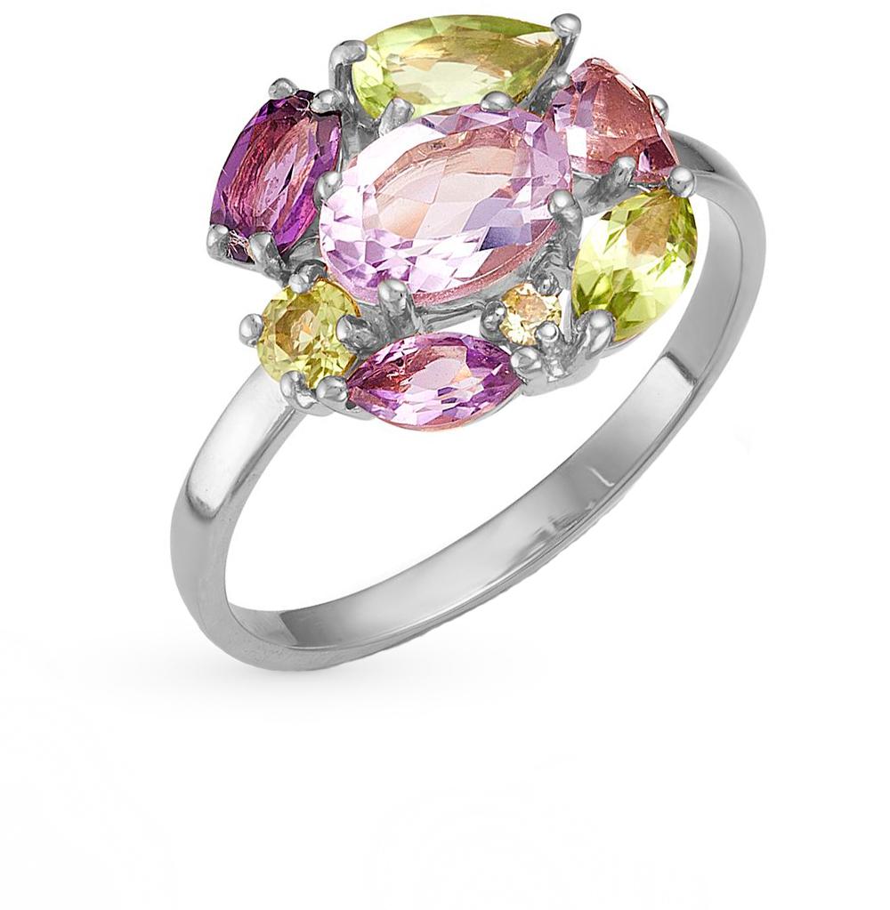 Фото «серебряное кольцо с аметистом, гранатом, цитринами, хризолитом, родолитами и раухтопазами (кварцами дымчатый)»