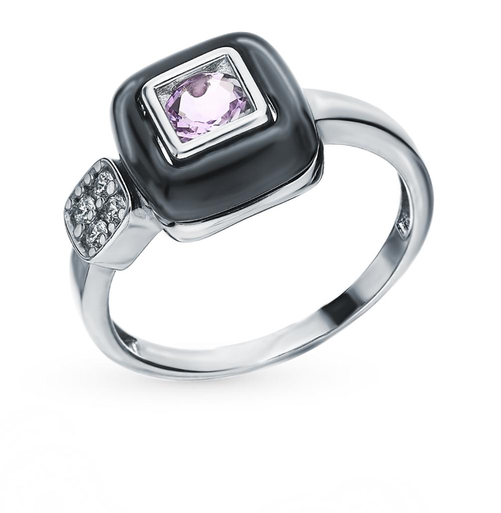 Серебряное кольцо с аметистом и фианитами в Екатеринбурге