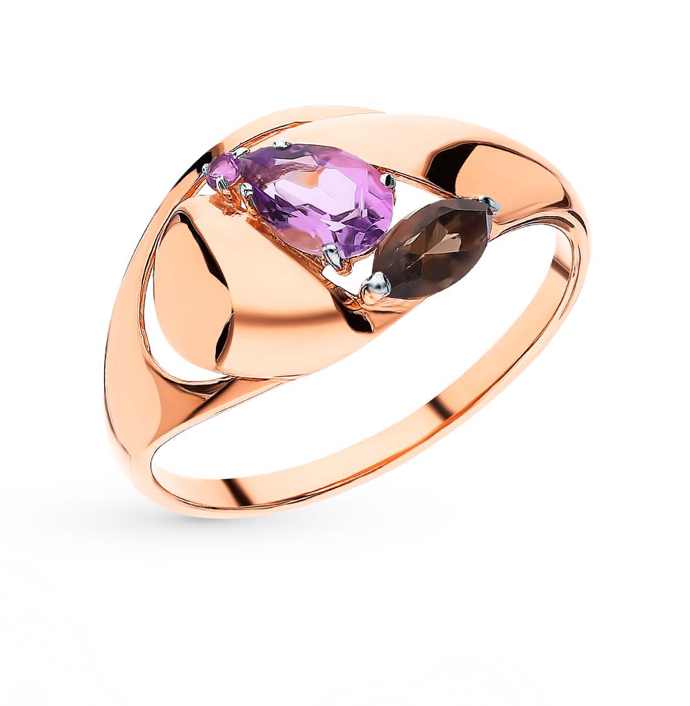 Фото «Золотое кольцо с раухтопазами и аметистом»