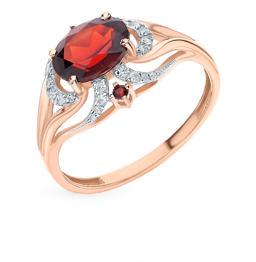 Золотое кольцо с фианитами и гранатом в Екатеринбурге