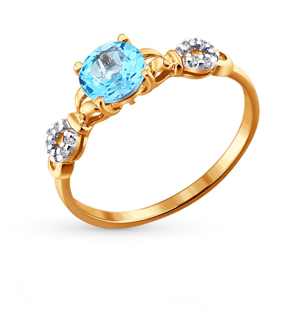 Фото «Золотое кольцо с топазами и фианитами SOKOLOV 713806*»
