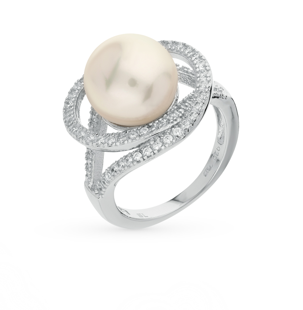 Фото «серебряное кольцо с фианитами и жемчугом»