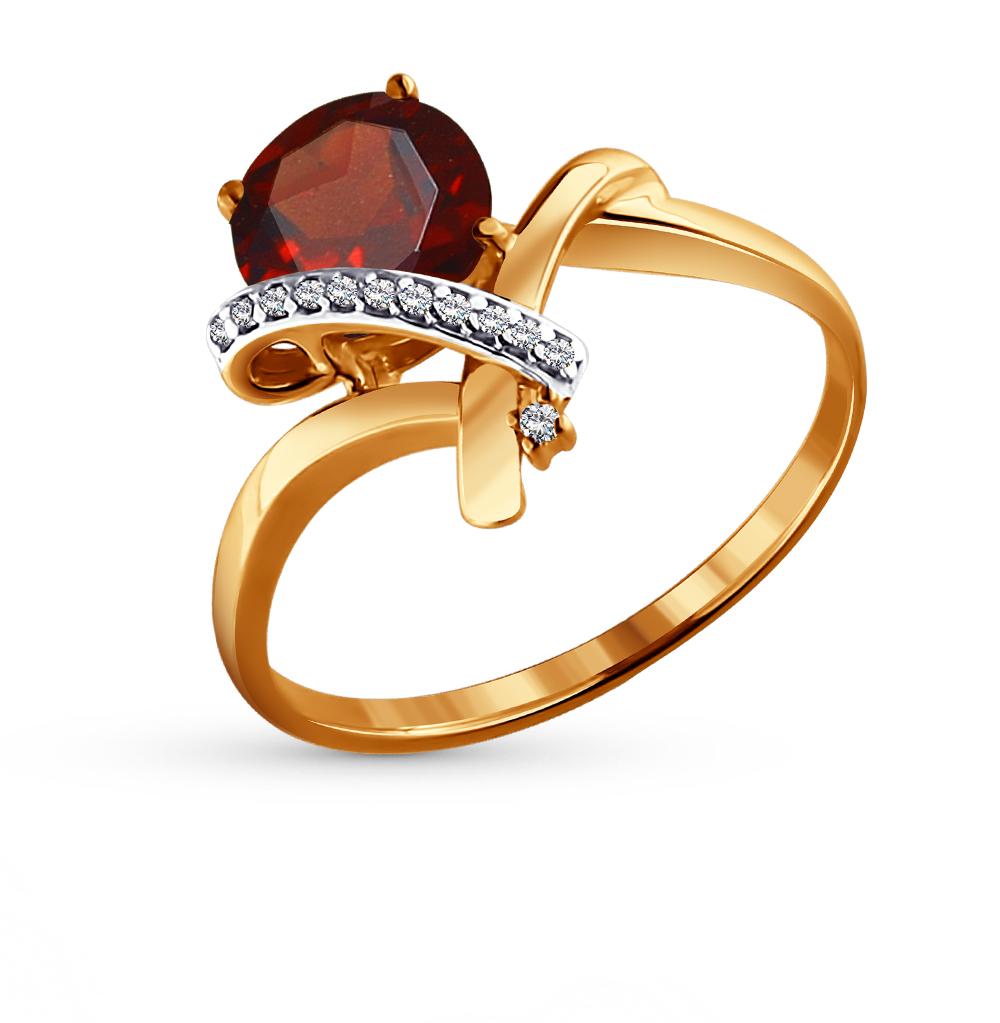 золотое кольцо с фианитами и гранатом SOKOLOV 713914*