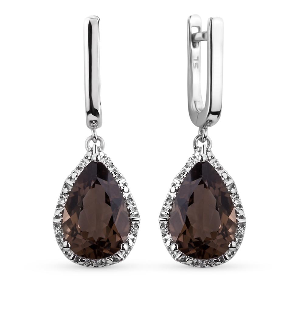 Фото «серебряные серьги с кварцем и бриллиантами»