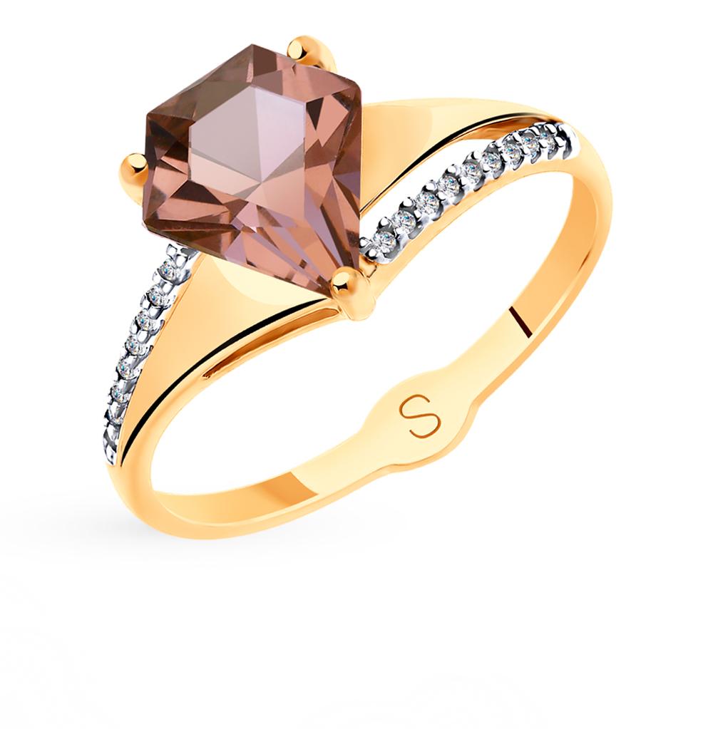 Фото «Золотое кольцо с фианитами и ситаллами SOKOLOV 715556*»