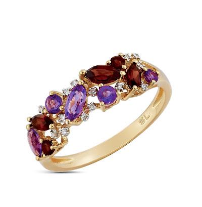 золотое кольцо с аметистом, гранатом и бриллиантами