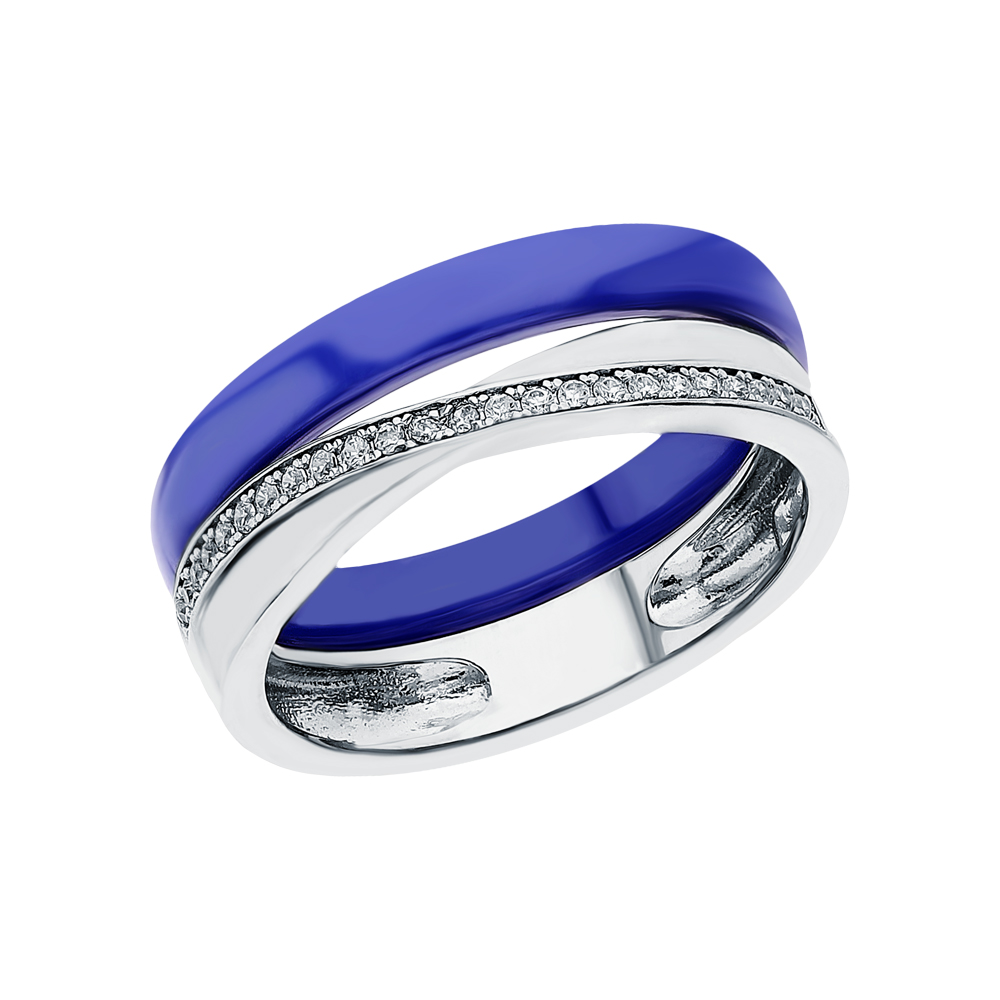 Серебряное кольцо с керамикой и кубическими циркониями в Санкт-Петербурге
