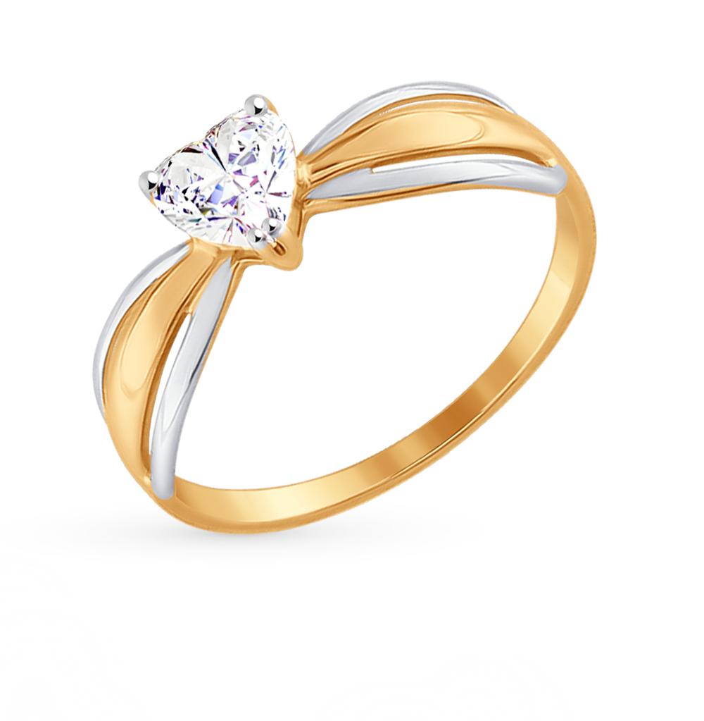 золотое кольцо с фианитами SOKOLOV 81010298*