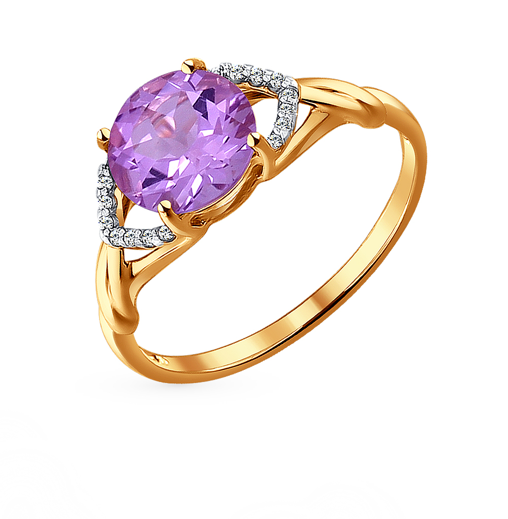 золотое кольцо с аметистом и фианитами SOKOLOV 714018*