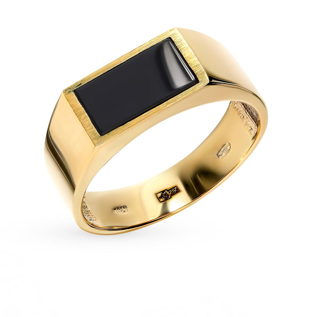 Мужское золотое кольцо с вставкой из оникса