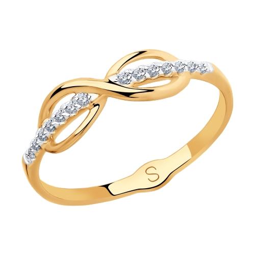 Фото «Золотое кольцо с фианитами SOKOLOV 018123*»